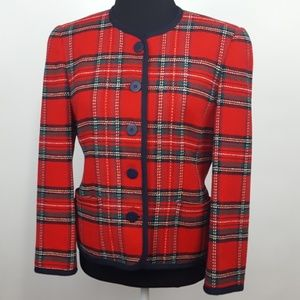Talbots Petites Wool/Cotton Red Plaid Blazer | 6P